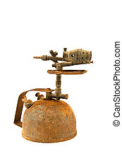 ancient rusted blowtorch isolated on white background....