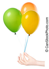 flying balloons with hand isolated on a white background