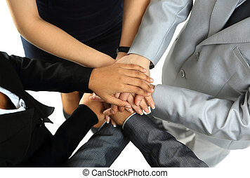 Image of business partners hands on top of each other...