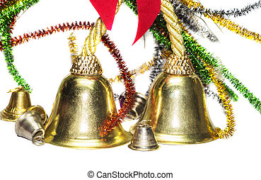 Christmas decoration material having big and small bells...