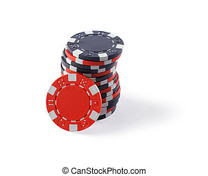 Red and black casino tokens, isolated on white background