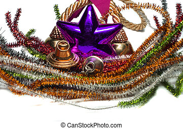 Christmas bells decoration with bells, star and wireframes.