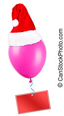 Christmas on color balloon with santa hat