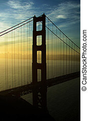 Golden Gate left pole silhouete - silhouete of the golden...