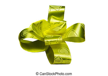 Yellow ribbon flower on white background