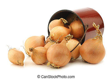 brown onions in an vintage enamel cooking pot on a white...