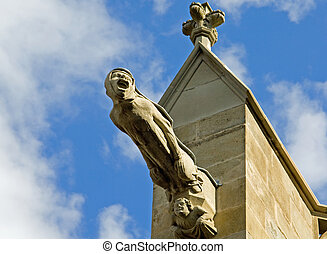 carcassonne - Detail of the church in the medieval cite of...