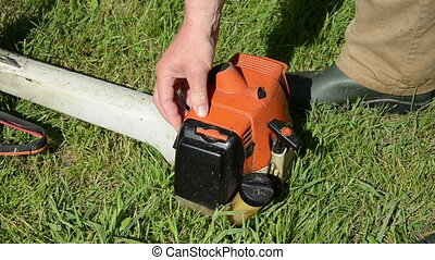 gardener start trimmer - Gardener hand pump fuel and try to...