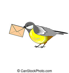 A cute titmouse with a letter in its beak