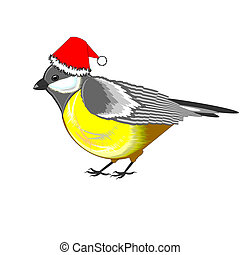 A cute Christmas titmouse isolated on a white background...