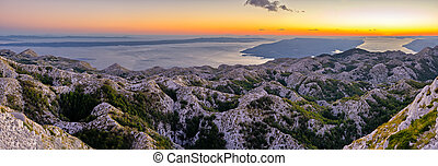Sunset over Biokovo park mountains, Croatia - Sunset over...