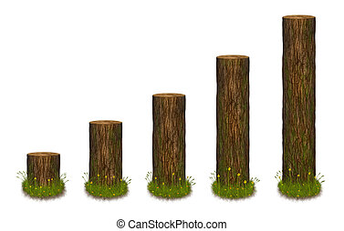 Statistics chart in the form of tree trunks - Statistics...