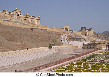 Amber Fort - Amber fort perched on a hill near Jaipur in...
