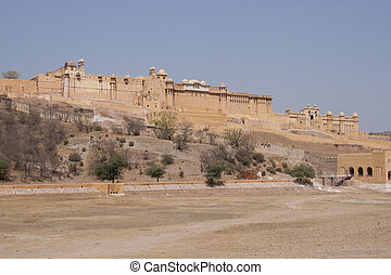 Amber Fort - Massive walls of Amber fort near Jaipur in...
