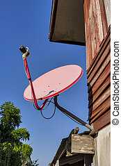Satellite dish attached to the home
