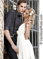 Portrait of young couple in love posing