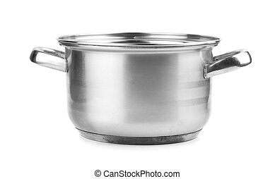 stainless steel pot without cover. Isolated on white...