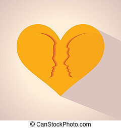male and female face with heart