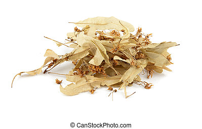 linden flowers - dried linden flowers isolated on white