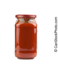 tomato sauce - glass jar of hot tomato sauce on a white...