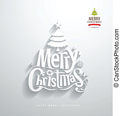 Merry Christmas lettering paper cut