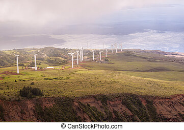 Island Wind Power - An aerial view of wind power generated...