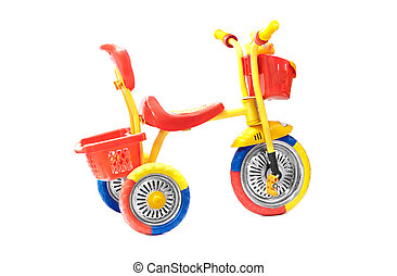 red tricycle on a white background