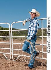 adolescent, cow-boy, fonctionnement, sur, a, ranch