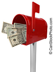 Mailbox with American money - A standard red mailbox...