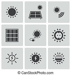 Vector black solar energy icons set