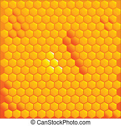 Honey Cells - A bright yellow honeycomb with a golden...