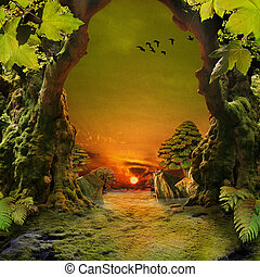 romántico, bosque, vista