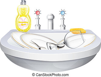 Washbasin With Crockery
