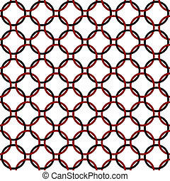 Black, Red and White Interlaced Circles Textured Fabric...