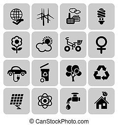 Set of ecology icons in flat design, vector illustration