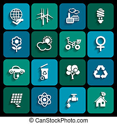 Ecology icons - Set of ecology icons in white color with...