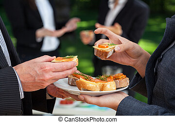 Small sandwiches on office meal during the lunch