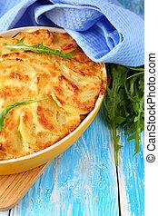 potato casserole with mushrooms, pie food closeup