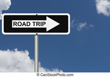 Road Trip Sign - White and Black street sign with sky...