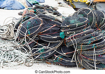 Empty seafood net traps