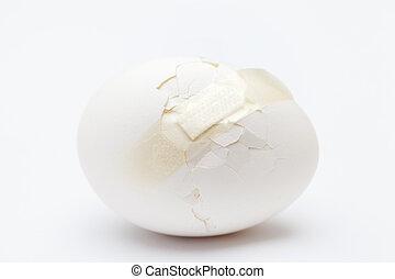 Cracked white egg
