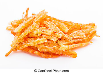 Dried shrimp isolated on whie