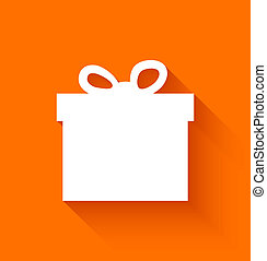 Abstract christmas gift box on orange background