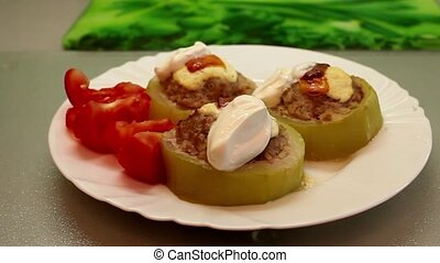 stuffed zucchini - HD1080: Dish with stuffed zucchini with...