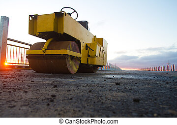 Bridge construction - Road roller in a new bridge...