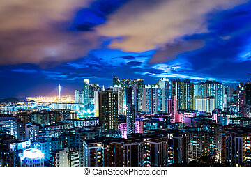 Urban city in Hong Kong at night