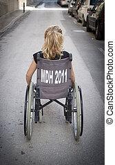 Child alone in wheelchair