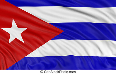 3D Cuban flag with fabric surface texture White background...
