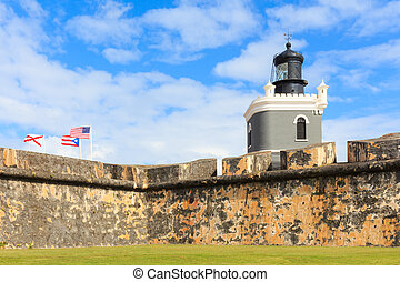 San Juan, Lighthouse at Fort San Felipe del Morro, Puerto...