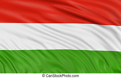 3D Hungarian flag with fabric surface texture. White...